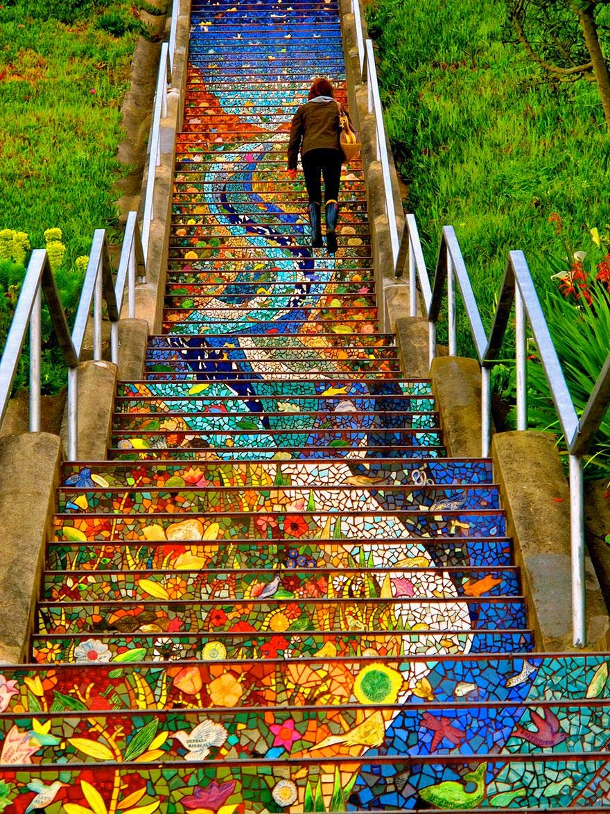Beautiful painted stairs form around the world 16-Avenue-Tiled-Steps-in-San-Francisco