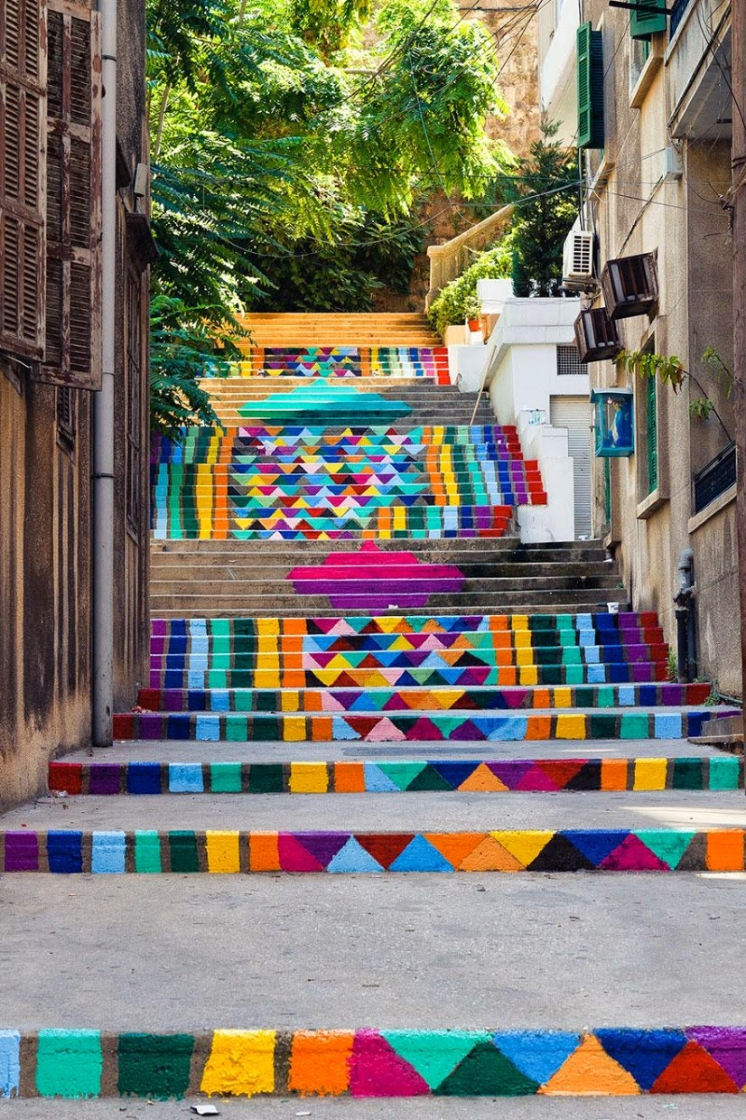 Beautiful painted stairs form around the world Beirut Lebanon