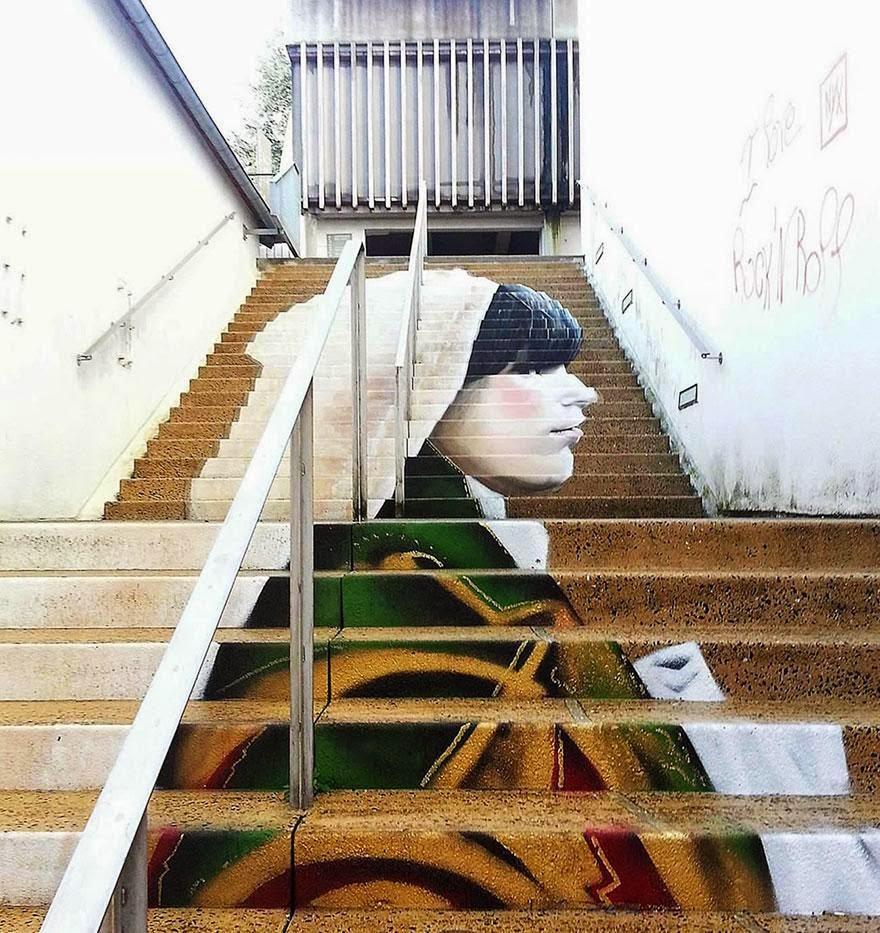 Beautiful painted stairs form around the world  Morlaix-France