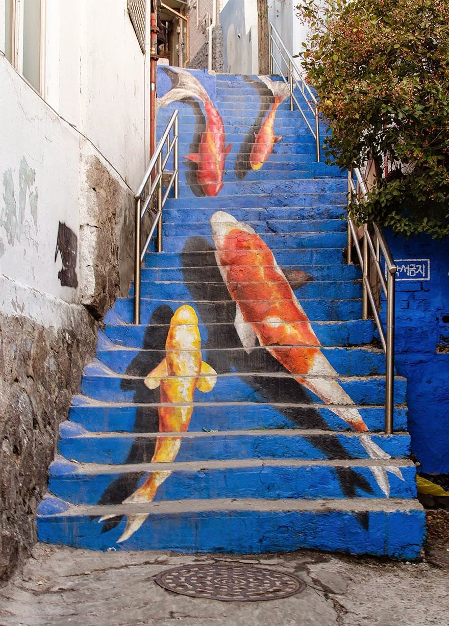 Beautiful painted stairs form around the world Seoul-South-Korea