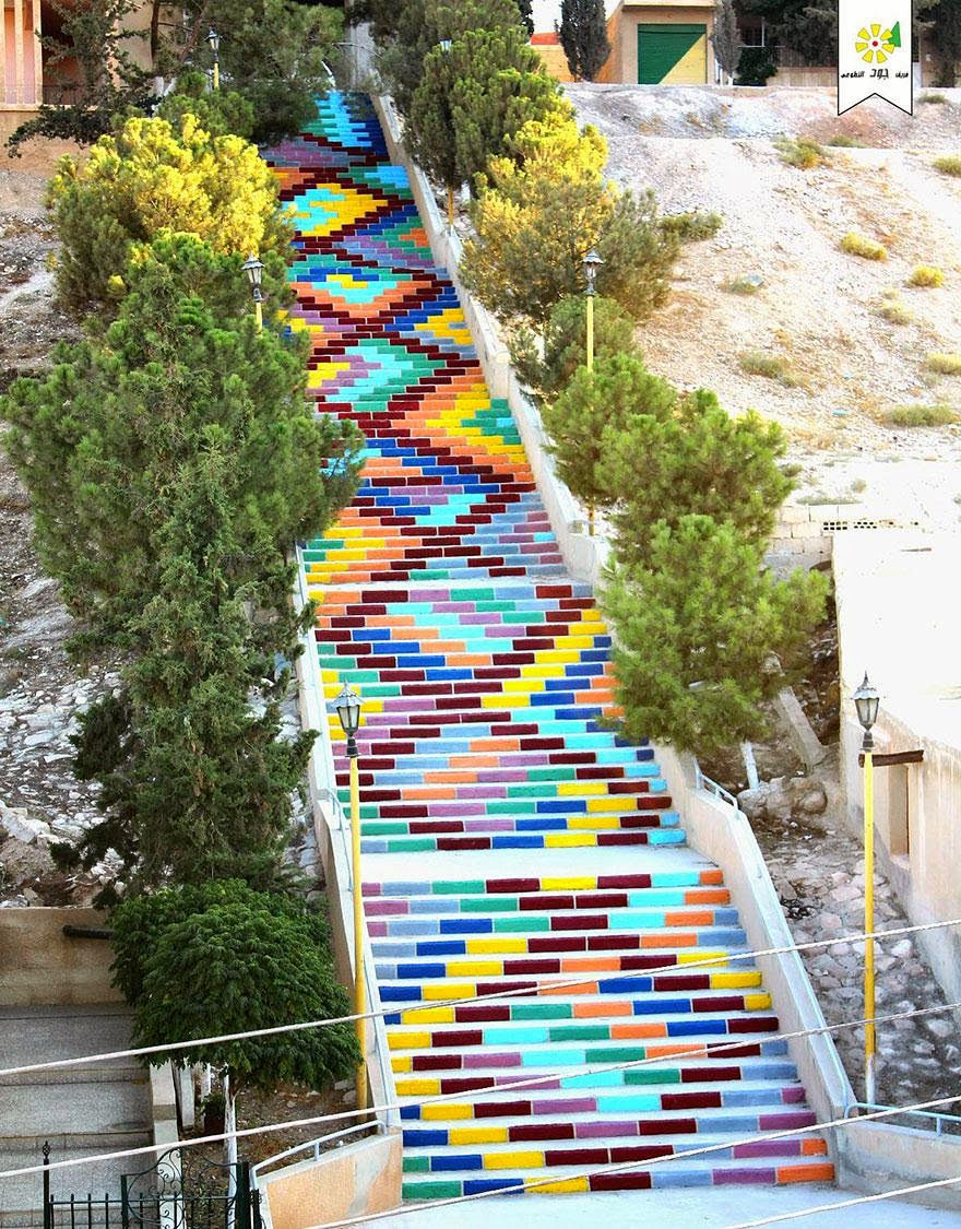 Beautiful painted stairs form around the world Stairs of Peace in Syria