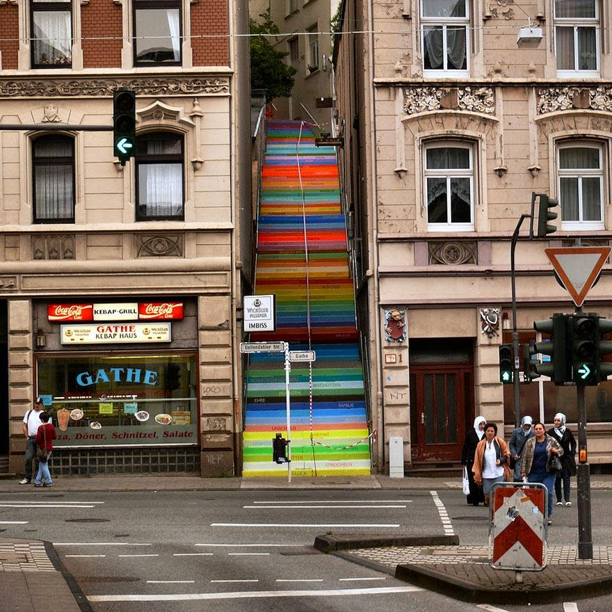 Beautiful painted stairs form around the world Wuppertal-Germany
