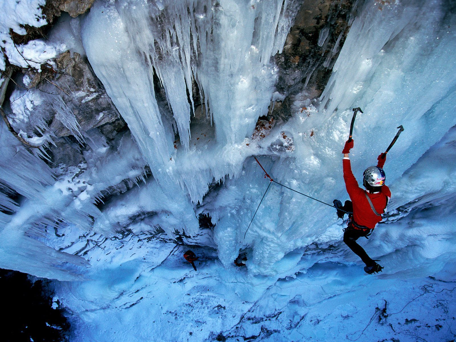 Climbing over Ice in a Icy Waterfall