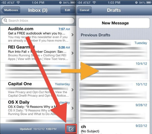 Quick access to email drafts - hidden features of iPhone