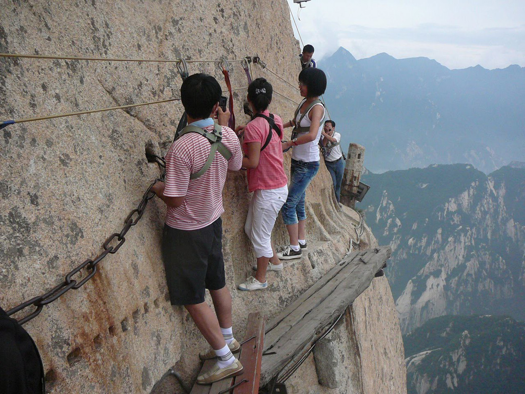 Traversing over the Death Trail in China on Mt. Huashan