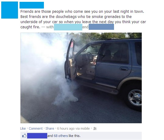 Car fun in a facebook status