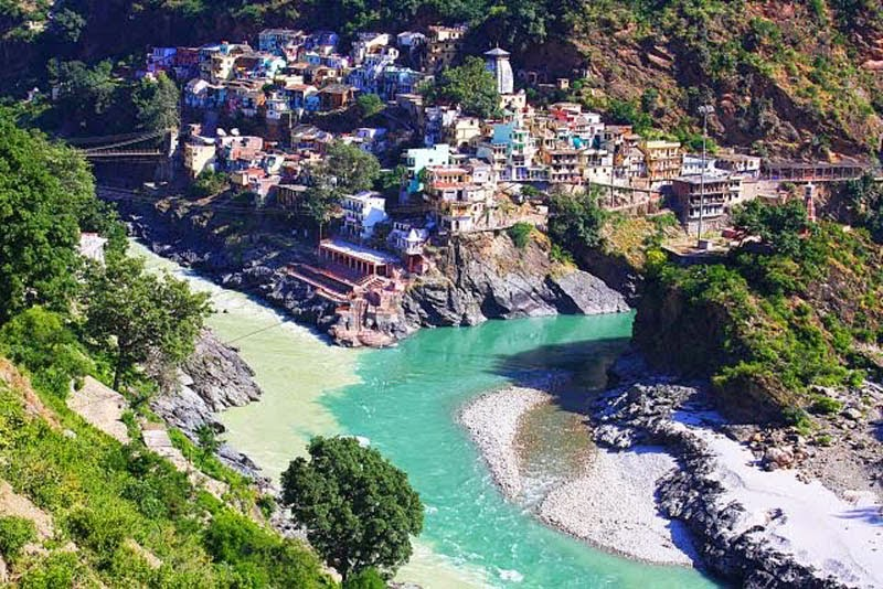 Alaknanda and Bhagirathi Rivers meet in Devprayag in India.
