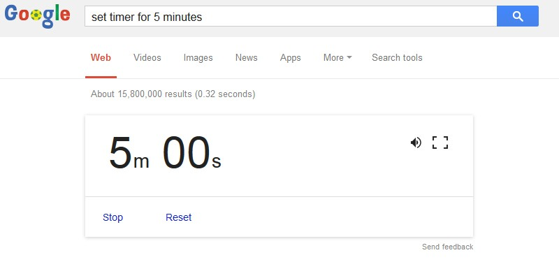 Google Tips - Set timer