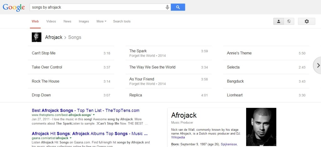 Google Tips - Songs