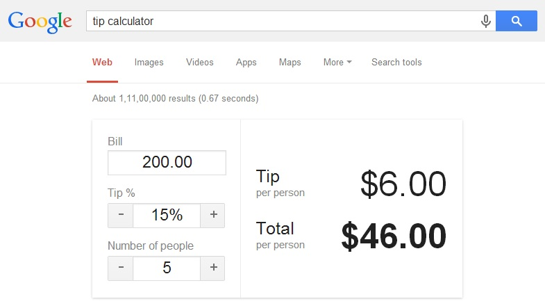 Google tips tip calculator