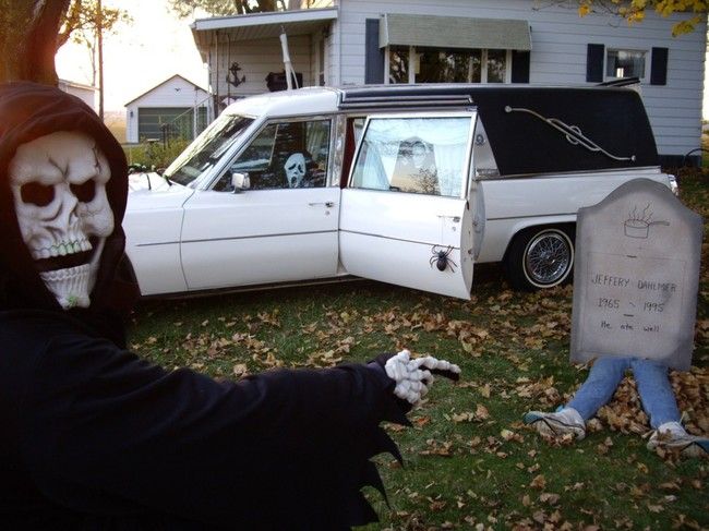 Halloween decorations by people on at their houses