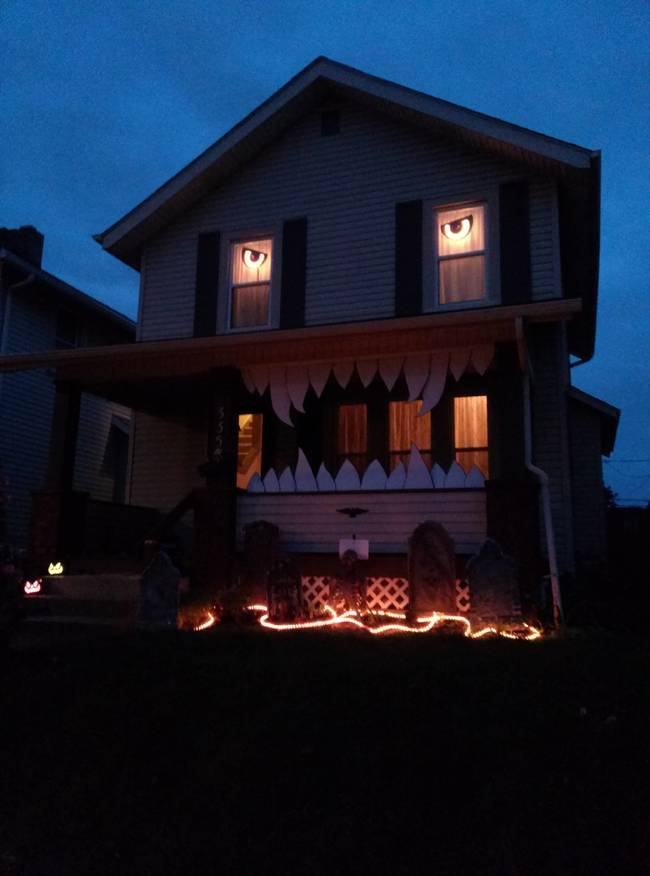 Decorated houses on Halloween