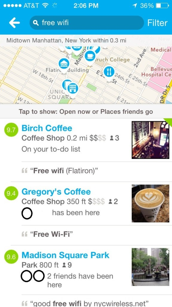 hidden features of foursquare search free wifi