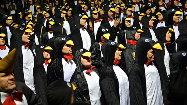 weird world records-  Largest gathering of people dressed as penguins