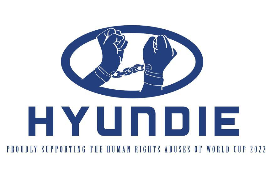 2022 qatar world cup - human rights abuse brand logos for protest - Hyundai