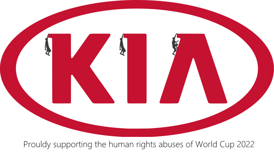 2022 qatar world cup - human rights abuse brand logos for protest - KIA