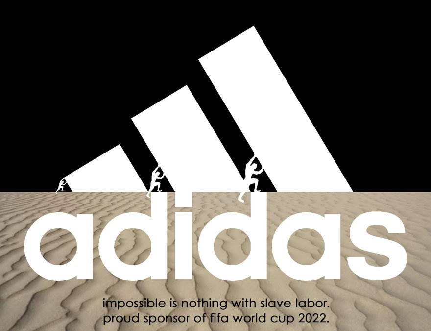 2022 qatar world cup - human rights abuse brand logos for protest - adidas