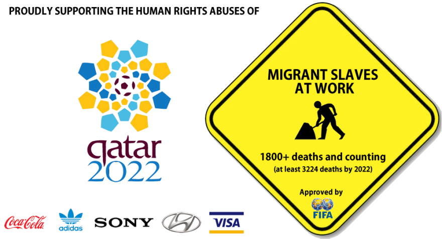 2022 qatar world cup - human rights abuse brand logos for protest - slavery