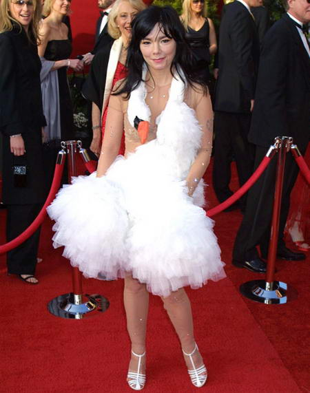 Bjork 2001, most irritating dresses wore by hollywood celebrities at Oscars, Hollywood actresses wore awful dresses at Oscar ceremonies