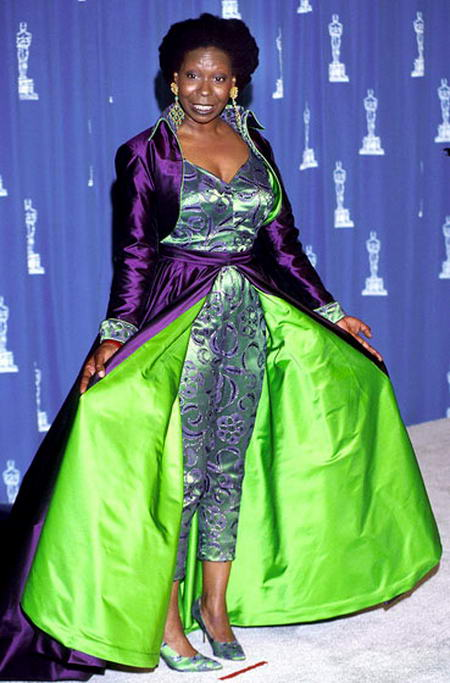 Whoopi-Goldberg-1993, Most Disgusting Dresses Wore By Celebs At Oscars ceremonies