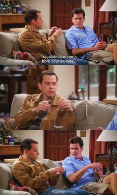 Hilarious conversation by Jake, Two and half men, Charlie Harper, Alan, funny quotes, funny jokes