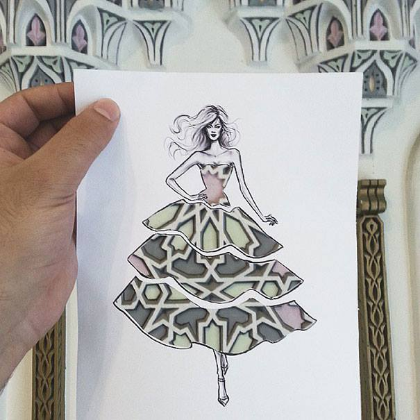 Cut-Out Fashion Illustrations by Shamekh Al-Bluwi
