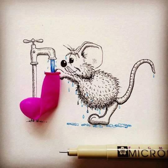 Mice Art Interacting with Objects