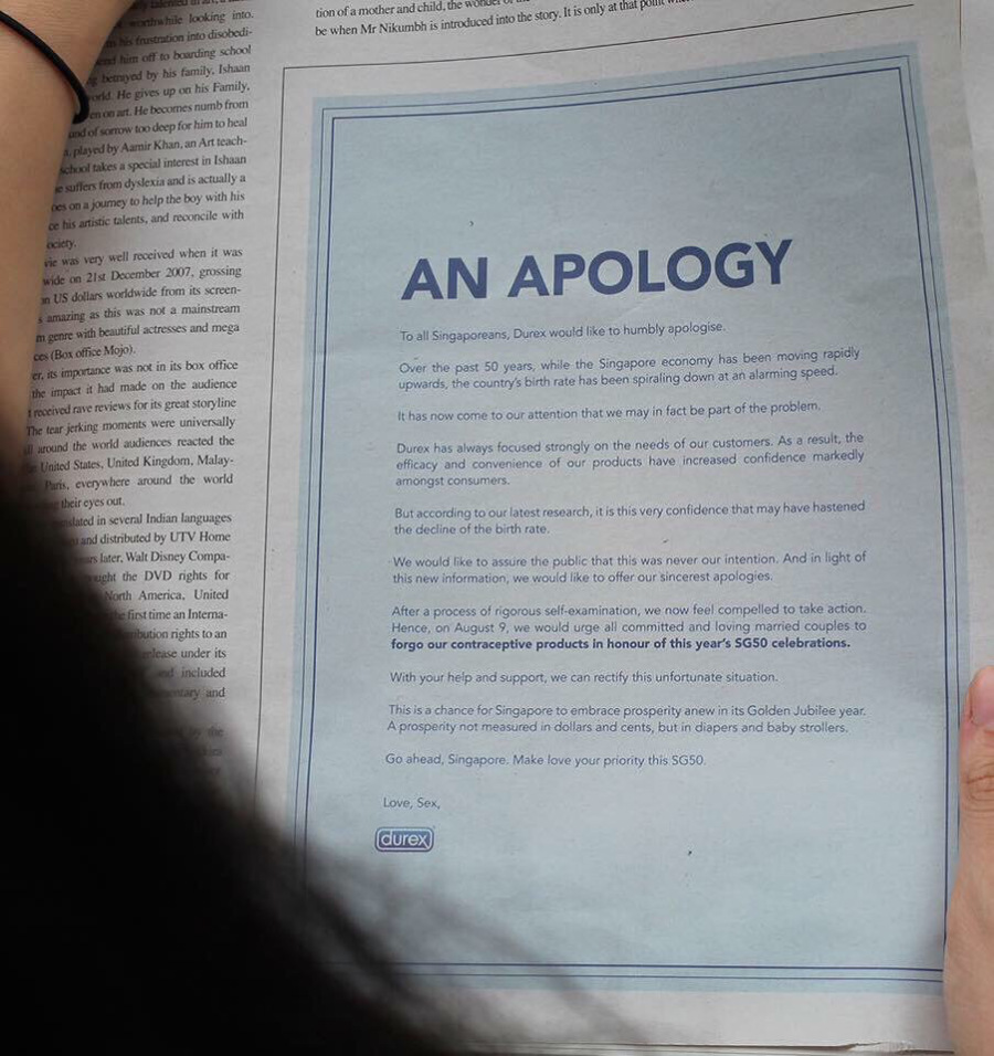 An apology by Durex - Hats off to marketing
