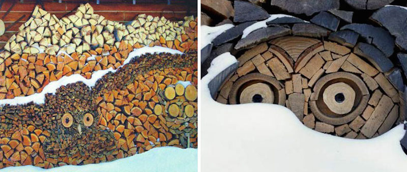 Art created by pile of wood