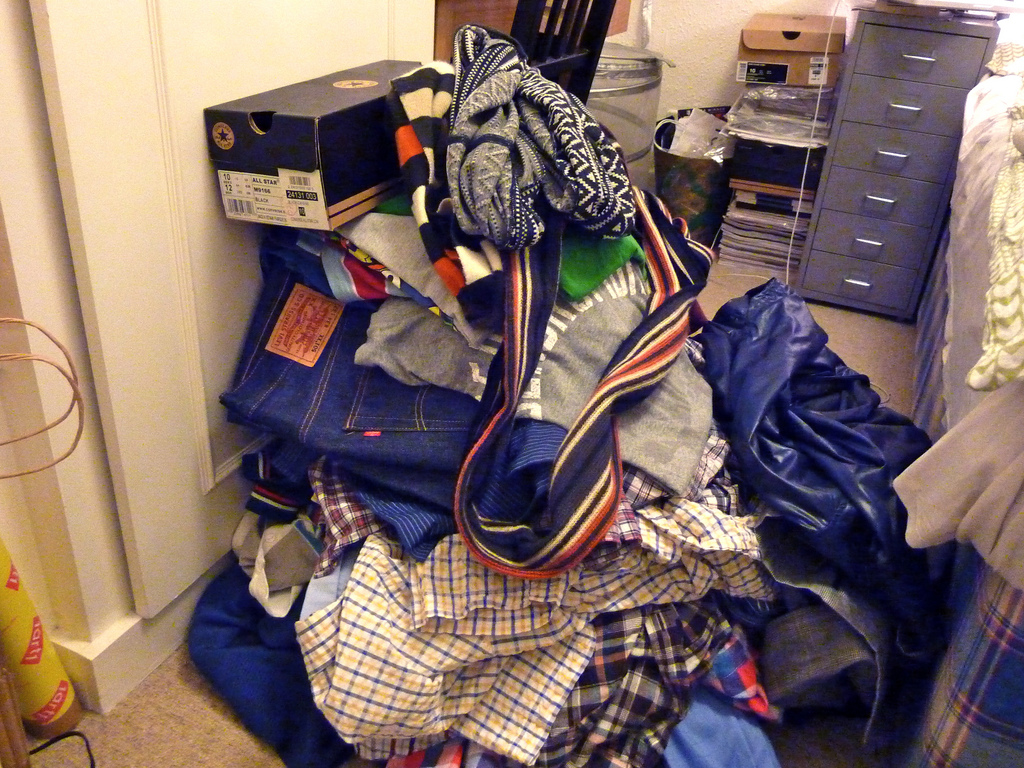Quick cheats to clean house - Hiding the pile of clothes
