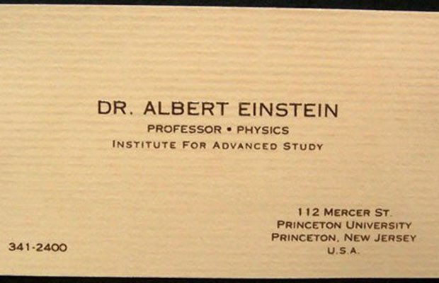Albert Einstein, Albert Einstein business card