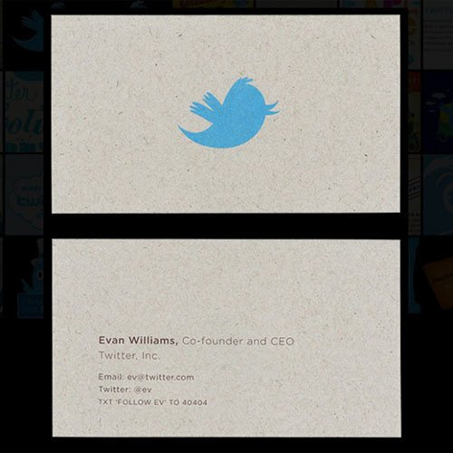 Evan Williams business card, twitter, Evan Williams, twitter business card
