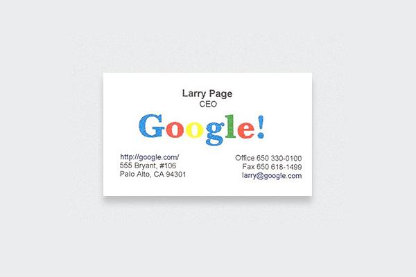 Google, Larry Page, Larry page business card, google business card