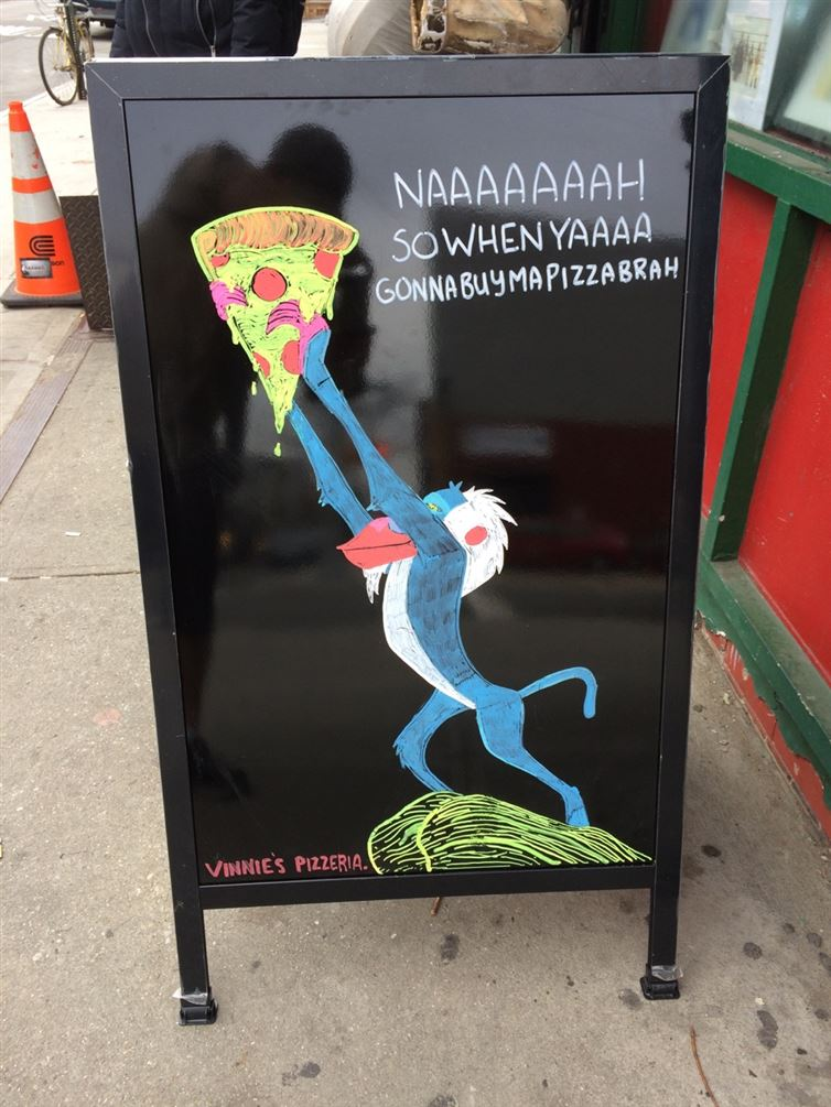 Hilarious pizza signs, clever pizza signs, smart pizza signs
