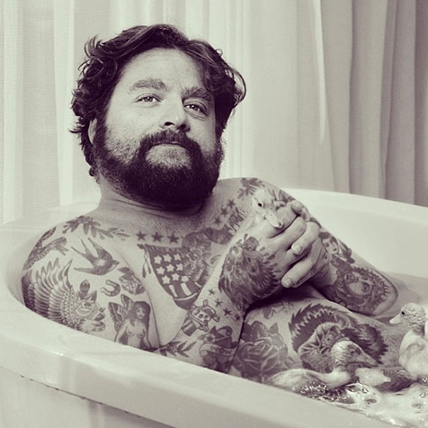 Zach Galifianakis, Zach Galifianakis with tattoo