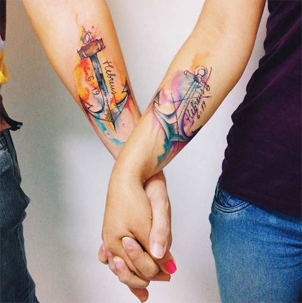 couple tattoos, cute couple tattoos, attractive couple tattoos