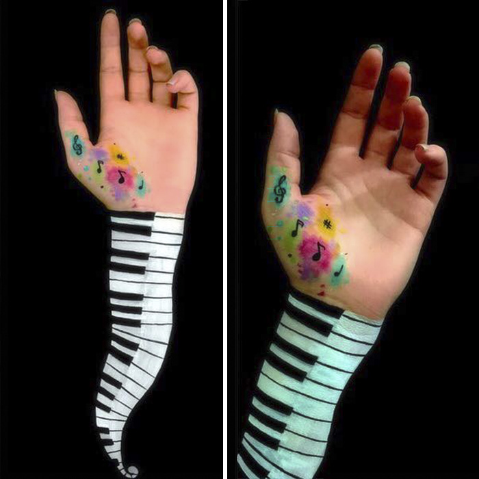 Optical illusion, optical illusion on hands, optical illusion on arms, awesome painting, painting