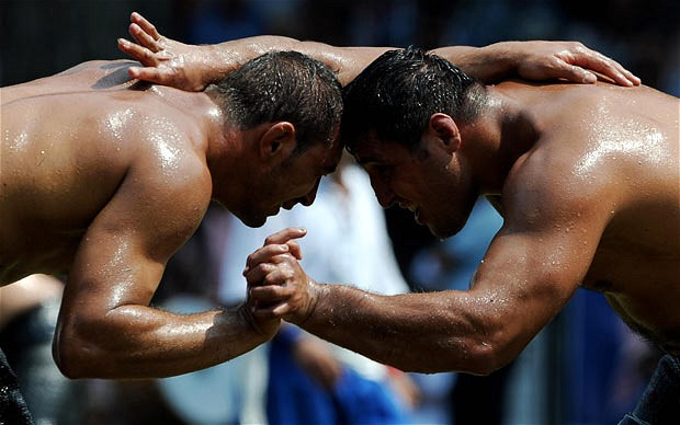 Unusual Sports - Oil Wrestling