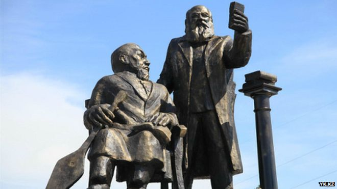 Horrifying statue of Yevgeny Mikhaelis and Abay Kunanbayeb